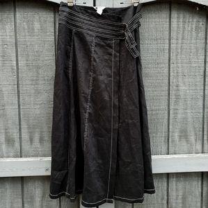 Vintage Carole Little Linen Wrap Skirt - size 8